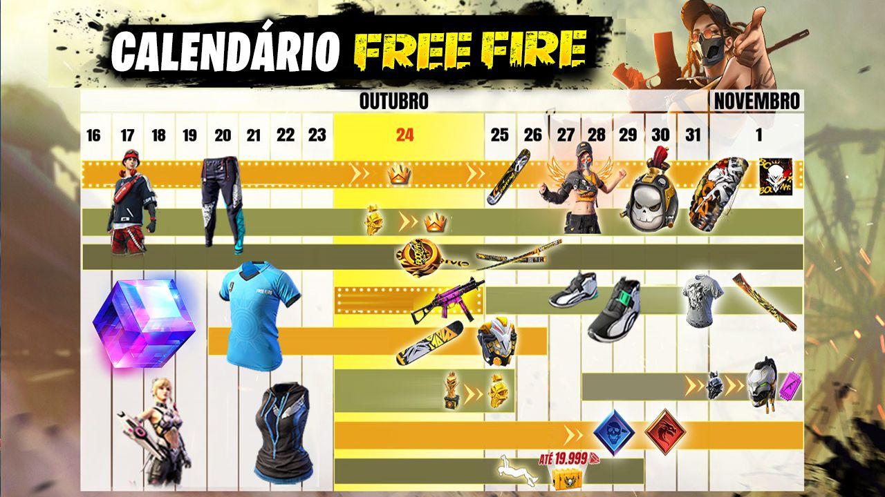 Calendário de Eventos Free Fire - FREEFIRENEWS
