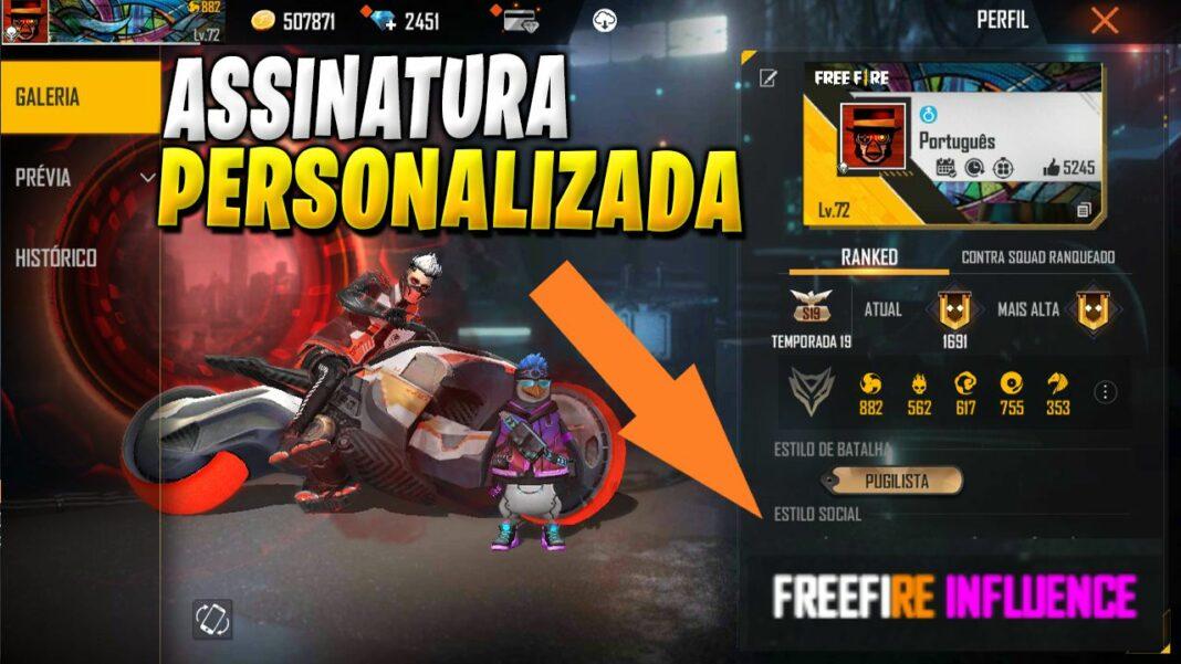 assinatura personalizada free fire